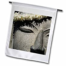 fl_89505_1 Danita Delimont - Hawaii - Hawaii, Kona. Lei on stone statue of Buddha - US12 BJA0013 - Jaynes Gallery - Flags - 12 x 18 inch Garden Flag