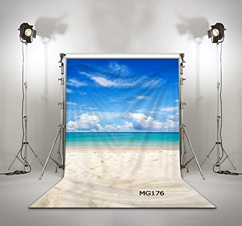 LB 5X7ft The Sea & Beach Muslin Photo Backdrops Customized Beach Photography Backdrop Studio Props MG176 (New Material) from LB