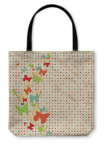 Dots Pattern Paper (Gear New Shoulder Tote Hand Bag, Butterfly Design Over Vintage Paper Dot Pattern, 18x18, 3423068GN)