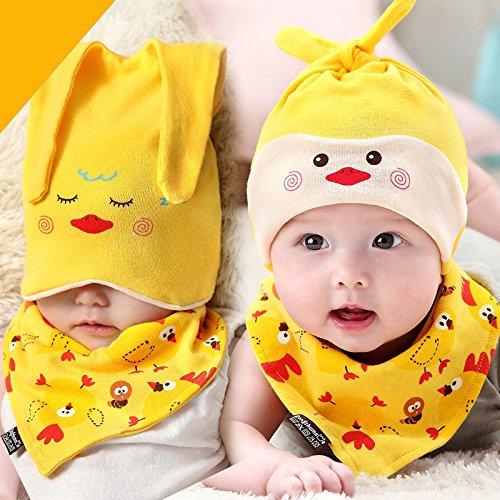 d88314f6167 CALISTOUS Newborn Baby Infant Boys Girls Sleep Hat Cap+Saliva Towel  Triangle Head Scarf Set Yellow  Amazon.co.uk  Kitchen   Home