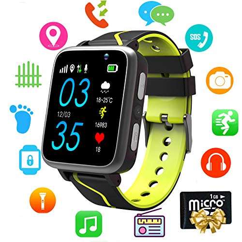 (Kids Smart Watch Music - MP3 Music Player Wrist Watch Phone for Boys Girls Touch Screen LBS Tracker Pedometer FM Bluetooth SOS Remote Monitor Camera Class Mode[1GB Micro SD Included] (Music Black))
