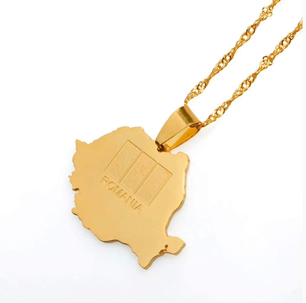 Romania Map Pendant /& Necklace Gold Color Trendy Romanian Jewelry Gifts