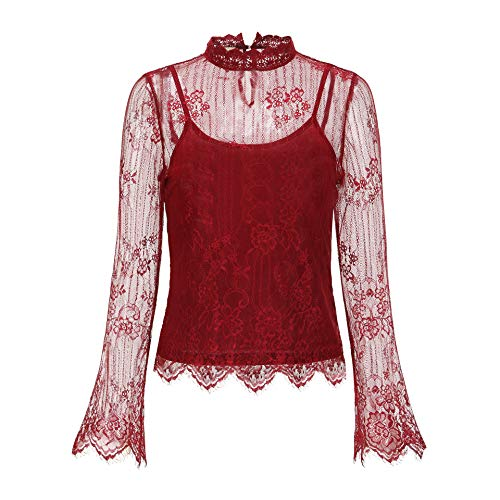 Woven Lace Mesh Blouses +Including Sleeveless Draped Jersey Tops, 9045T (Wine, 2X-Large) ()