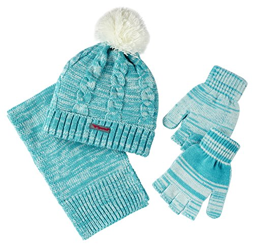 Sportoli Women's Cable Knit Cold Weather Accessory Set Warm Hat, Scarf & Gloves (Aqua) (Youth Camo Stocking Cap)