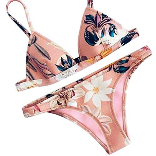 Swimwear,Han Shi Women Push-up Padded Bra Floral Print Bikini Set Swimsuit (Pink, S)