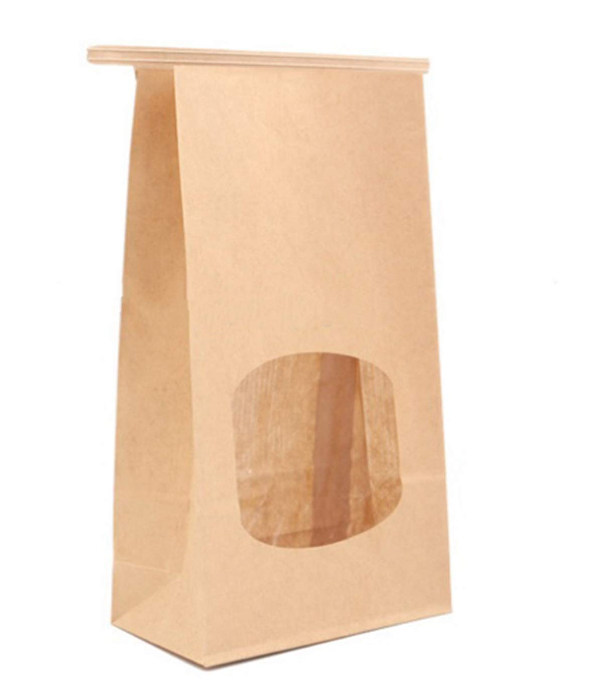 100-Piece Stand Up Kraft Paper Tin Tie Bags with Windows (M-9.7''×4.5''×2.5'')