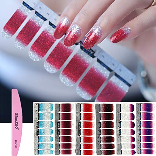 BlueZOO 1PC Nail Buffer File with 6 Different Sheets Shinny Full Nail Art Tips Stickers False Nail Design Manicure Sets(Style 2) ()