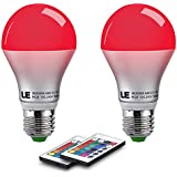 LE Pack of 2 Units 5W Dimmable A60 LED Bulbs, Color Changing, 160¡ã Beam Angle, RGB, 16 Color Choice, Medium Screw Base, Remote Controller Included, LED Light Bulbs