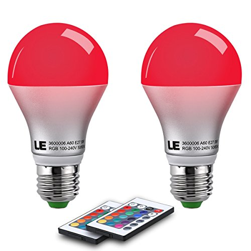 LE A19 E26 LED Light Bulbs, 40 Watt Incandescent Equivalent, RGBW, Dimmable, 6W 470lm, 4 Modes Color Changing with...