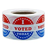 Hybsk I Voted Today with Red, White, and Blue Circle Stickers 1.5 Inch Round 500 Labels Per Roll