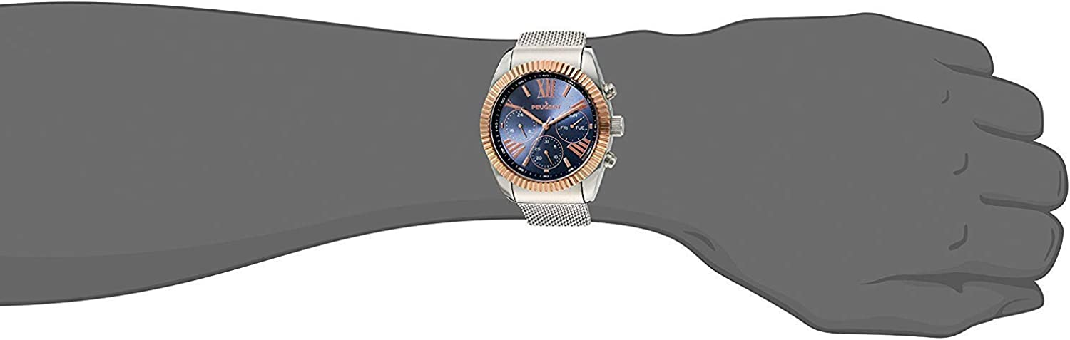 Peugeot Men Coin Edge Dress Watch - Multi-Function with Calendar and Chronograph Dials, Steel Mesh Band Silver