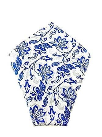 Mens Pocket Square Baby Blue Pattern Paisley | Wedding Handkerchief | Groomsmen Hanky | Gift For Him |