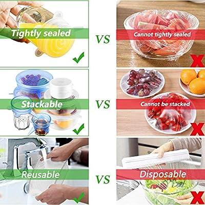 Tapas elásticas de silicona para alimentos, reutilizables en ...