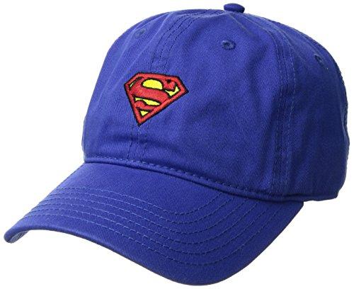 Logo Baseball Ball Cap (Superman Men's Baseball Cap, Embroidered Logo, Washed Twill, Royal, One Size)