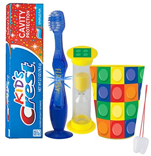 """Lego"" Inspired 4pc Bright Smile Oral Hygiene Set! Soft Manual Toothbrush, Toothpaste, Brushing Timer & Mouthwash Rise Cup! Plus Bonus ""Remember to Brush"" Visual Aid!"