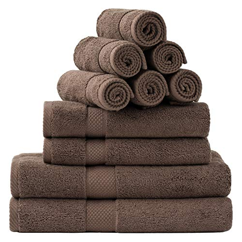 Bedsure Towel Sets for Bathroom, Combed Cotton Bath Towels Set – 10 Pack, 2 Bath Towels 27×54, 2 Hand Towels 16×30, 6…