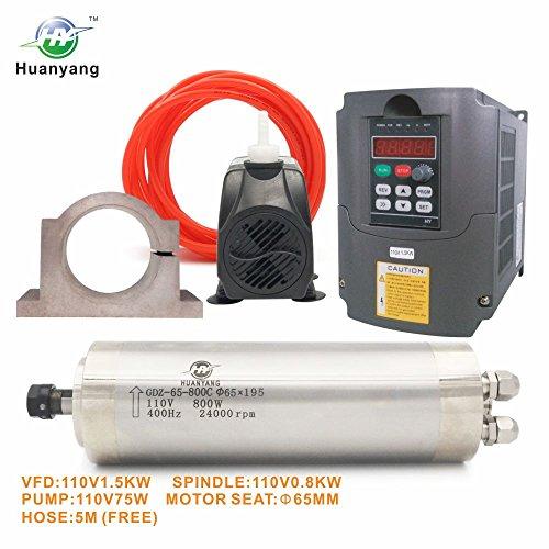 VFD CNC Spindle Motor Kits110V 1.5KW VFD+110V 800W 4 bearings Water Cooled Spindle Motor+110V 75W Water Pump+65mm Motor Clamp Mount+5m Water Pipe (110V-1.5kw vfd, 800w 4 bearings motor)