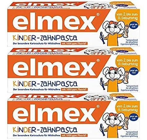 Elmex - Pasta De Dientes Para Niños - Pack de 3 Unidades (3x 50g): Amazon.es: Salud y cuidado personal