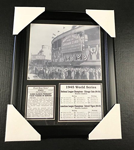- 11x14 Framed & Matted 1945 Chicago Cubs Clinch Pennant 8X10 PHOTO