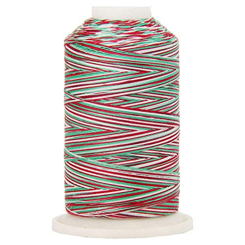 Threadart Variegated 100% Cotton Thread 600M | For Quilting, Sewing, and Serging | Color 7739 Holiday | 40/3wt | 22 Colors Available