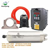 VFD CNC Spindle Motor Kits with 110V 1.5KW VFD+110V 800W 4 bearings Water Cooled Spindle Motor+110V 75W Water Pump+65mm Motor Clamp Mount+5m Water Pipe (110V-1.5kw vfd,4 bearings motor)