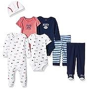 Carter's Baby Boys' 7-Piece Bodysuit Set, Navy Sports, Newborn