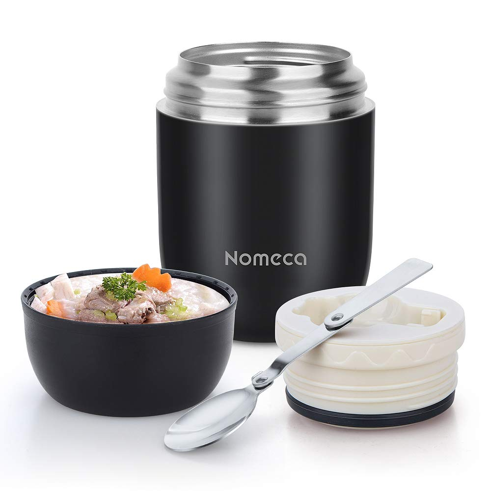 Insulated Lunch Container Food Jar Nomeca 16 Oz Stainless Steel Thermoses Food Flask Lunch Vacuum Bottle with Folding Spoon (Black)
