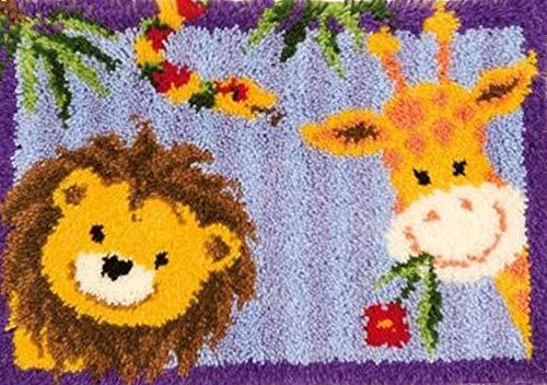 Sunny DIY Crochet Yarn Kits, 18.89X14.56, Needlework Kit DIY Crocheting Rug Yarn Cushion Embroidery Set , Hello friend 18.89X14.56