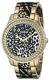 GUESS Women's U0465L1 Gold-Tone Animal Print Watch