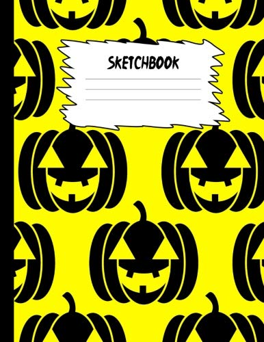 Sketchbook: Halloween Sketch Book for Kids: Lime Green Orange Pumpkin Large Drawing Paper with 80 Pages (8.5