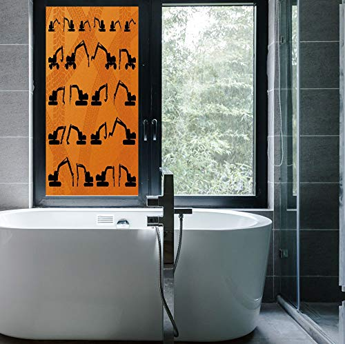 (YOLIYANA Frosted Window Film Stained Glass Window Film,Construction,Work Well in The Bathroom,Excavator Black Silhouettes Tire Traces Track Machinery Industry,24''x48'')