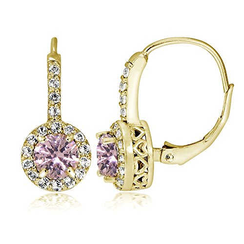 Yellow Gold Flashed Sterling Silver Simulated Pink Tourmaline 5mm Round and CZ Accents Leverback Earrings