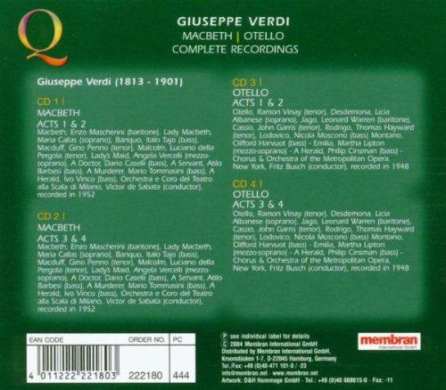 Macbeth-Otello: Busch Fritz: Amazon.es: Música