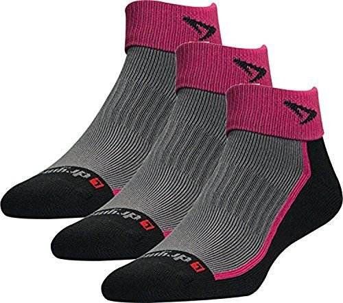Drymax Socks Trail Run 1/4 Crew/Turndown - October Pink/Black W5-7, M3.5-5.5 - 3 Pack