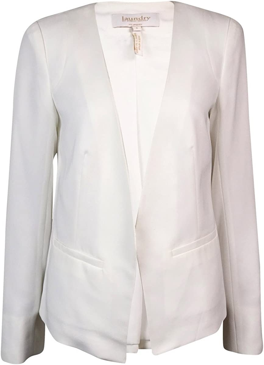 Laundry by Shelli Segal Pleated-Back Long Sleeve Soft Jacket Optic White