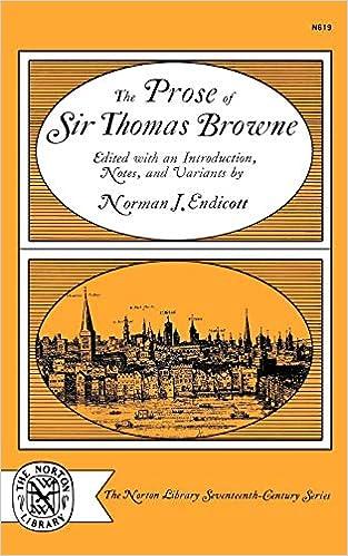 Amazon com: The Prose of Sir Thomas Browne (The Norton