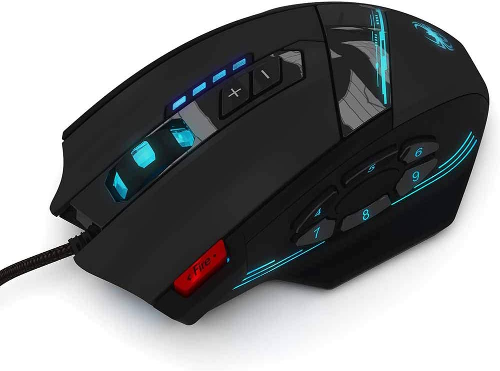 XP//Vista Mac Gaming Mouse,4 DPI Adjustable Level Ergonomic Game USB Computer Mice with 12 Buttons for Windows 7//8//10//2000