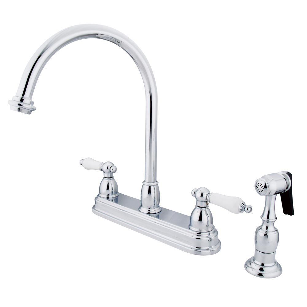 Kingston Brass KB3751PLBS Restoration Deck Mount Kitchen Faucet with Brass Sprayer, 8-1 2-Inch, Polished Chrome