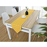 DecentGadget Stylish Classic Cotton And Linen Table Runner For Dinning Room/Party/Holiday Decoration (Yellow Linen, 200*28cm)