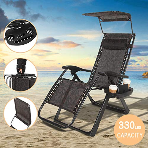 (Artist Hand Zero Gravity Chair Recliner Seats Black Flowered Textilene Fabric Backrest Sunshade Canopy & Cup Holder Support 330lbs Tray Folding Lounge Chair Handle to Carry for Travel Beach Pool)