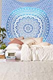 Ambika Designs 100% Cotton Handmade Hippi Bohemian Indian Blue Ombre Wall Hanging Large Blue Mandala Tapestry - Big Hippie Decorative Wall Hanging Boho Bohemian Room Dorm Decor Art 100% Cotton Queen