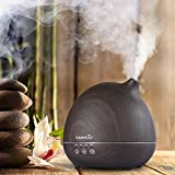 Easehold 400ml Essential Oil Diffuser Humidifier Air Purifier Upgraded Touch Sensitive Panel Full Wood Grain 7 Color LED lights Penguin Shape Wood Grain Finish ,Black
