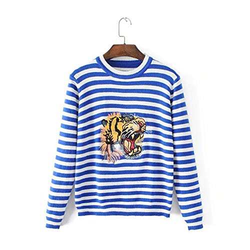 (KUBAO 2018 Autumn New Round Neck Tiger Head Embroidered Striped Sweater Female)