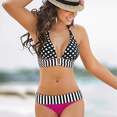 Women Stripe Bikini Set, Lady Monokinis Halter Swimwear Tankinis Swimsuit Dot Bathing Suit Beachwear by lkoezi - Women Swimwear