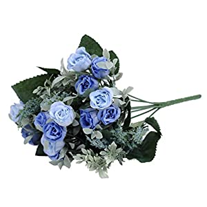 Artificial Flower 7 Branch Bounquet Artificial Small Rose for Home Decor Without Vase & Basket, 1 Flower, Blue 52