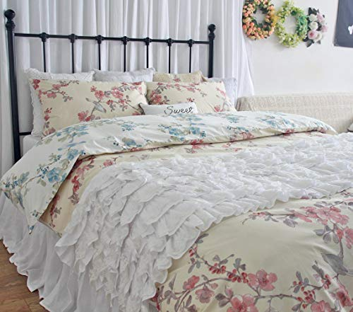 Reversible Branches Birds Printed Duvet Cover Chic Bedding Set