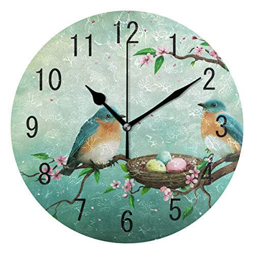 hiusan Easter Egg Bird on Tree Wood Wall Clocks Silent Non Ticking Decorative for Living Room Bedrooms Office 12 Inch for Gifts