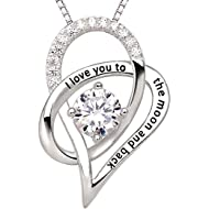 Jewelry Sterling Silver I Love You To The Moon and Back Love Heart Cubic Zirconia Pendant Necklace