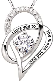 """ALOV Jewelry Sterling Silver """"I Love You To The Moon and Back"""" Love Heart Pendant Necklace"""