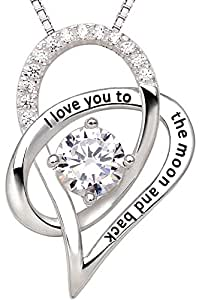 "ALOV Jewelry Sterling Silver ""I Love You To The Moon and Back"" Love Heart Cubic Zirconia Pendant Necklace"
